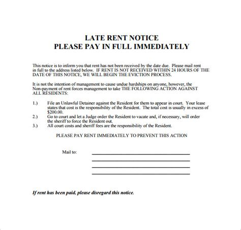 Rent Due Letter Late Rental Notice Templates 8 Sles Exles Format