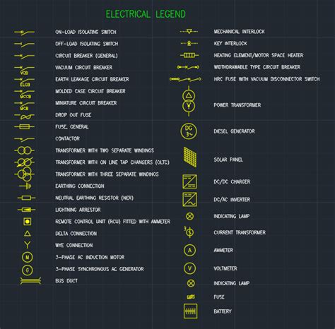 electrical legend free cad block and autocad drawing