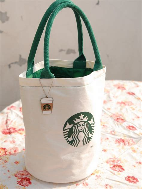 snippets of my starbucks canvas lunch tote bag with
