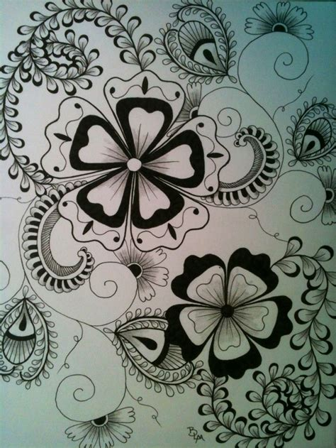 zendoodle drawing competition 10 best flower outlines images on flower