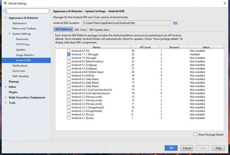 android sdk manager android studio sdk manager 28 images setting up an android studio development environment