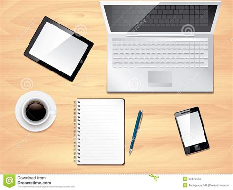 Office Desk Top View Office Desk Top View Photo Realistic Stock Images Image 33479474