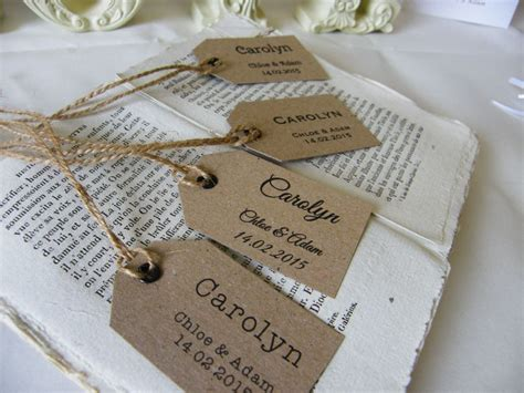 Handmade Name Tags - individually personalised place name tags vintage wedding
