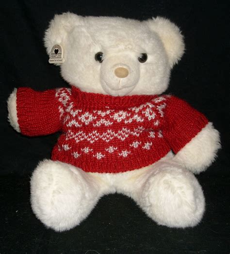 hallmark stuffed animals 14 quot vintage 1986 white teddy heartline hallmark