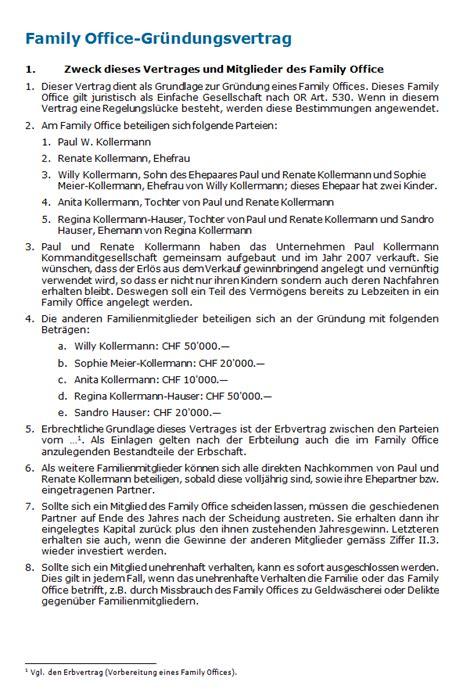 Muster Dienstleistungsvertrag Schweiz Family Office Gr 252 Ndungsvertrag Muster Zum