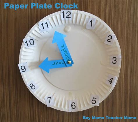 Paper Plate Clock Craft - bmtm paper plate clock boy