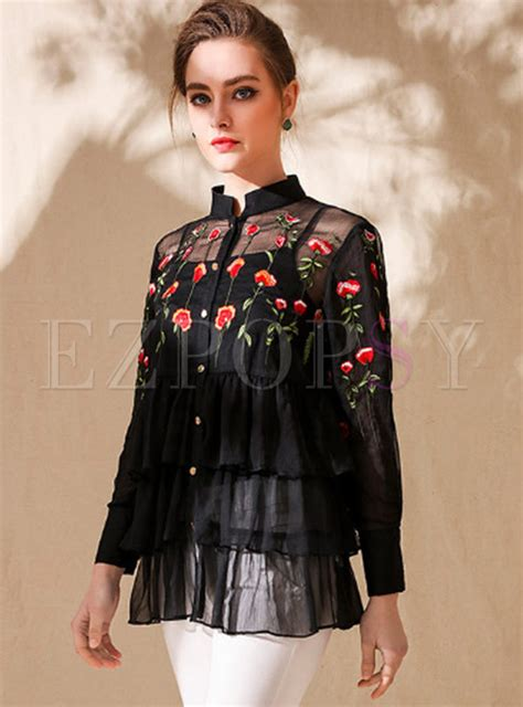 Flower Embroidered Blouse black silk flower embroidered blouse ezpopsy