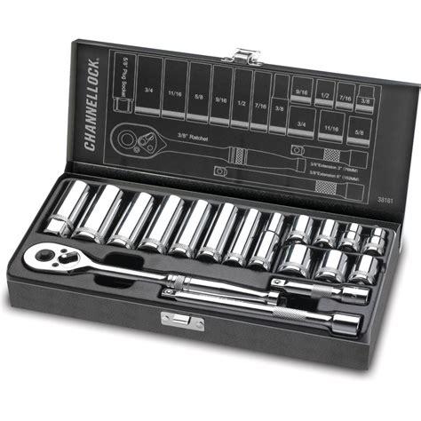 Tekiro Socket Set 18 Pcs 3 8 Inch 6 22 Mm 6pt Sock Set channellock 3 8 in drive sae standard socket set 18 38181 the home depot