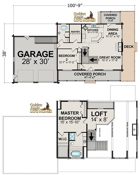 log floor lofted log floor plan from golden eagle log homes