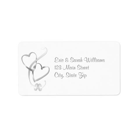 silver hearts wedding address labels zazzle