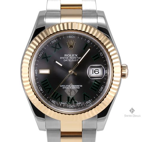 Men's Rolex Datejust II Stainless Steel Black Roman Numeral Dial Fluted Bezel Oyster Band Watch