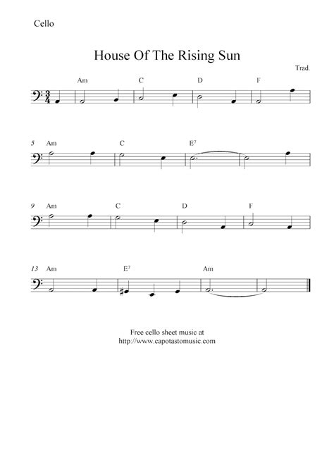 house of the rising sun music notes house of the rising sun free cello sheet music notes