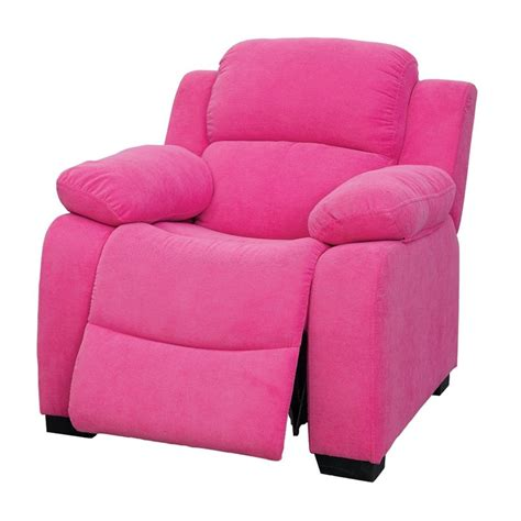 kids pink recliner furniture of america dara kids recliner in pink idf 6007pk