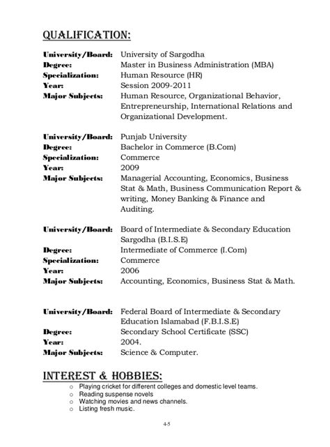Mba Specialization Subjects List by Ahmed Nisar Warraich Cv New Pic