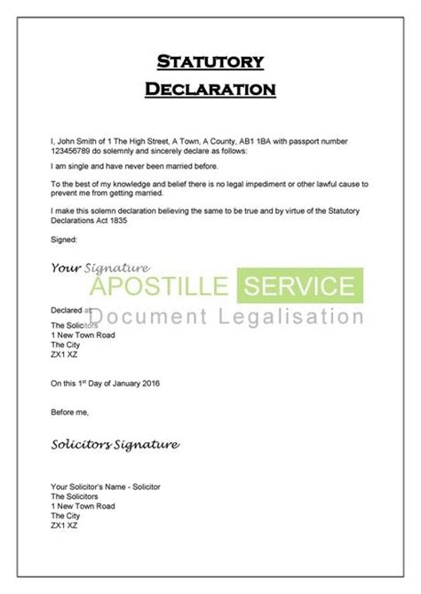 statutory declaration template name change apostille for statutory declarations legalisation service