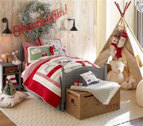 pottery barn christmas bedding santa holiday quilted bedding pottery barn kids