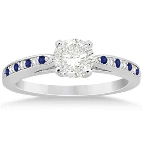 Blue Sapphire 6 55ct blue sapphire engagement ring set 14k white gold