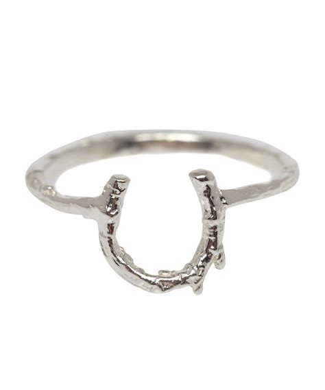 alex silver baby horseshoe ring in metallic lyst