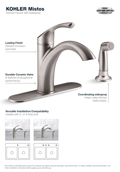 kohler mistos single handle standard kitchen