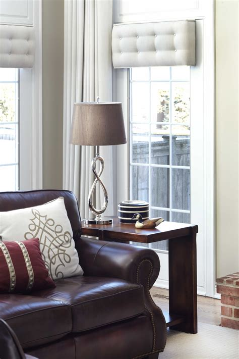 superb Bay Window Ideas Living Room #2: Tufted-Cornices-Draperies-and-Contemporary-Lamp-for-Living-Room.jpg