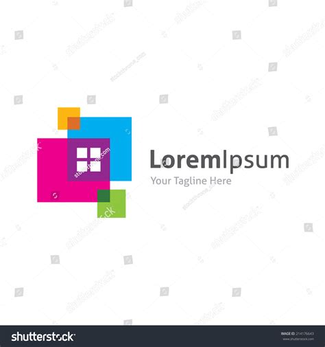 abstract random colorful squares style house stock vector