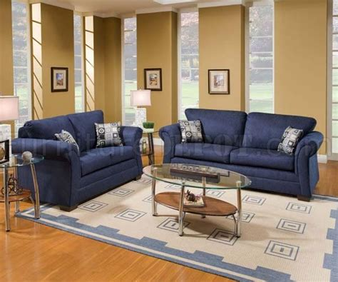 Navy Sofa Set by Limbo Navy Fabric Modern Sofa Loveseat Set W Padded Arms