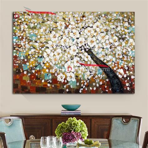 dipinti fiori astratti quadri su tela albero con fiori bianchi astratti dipinti