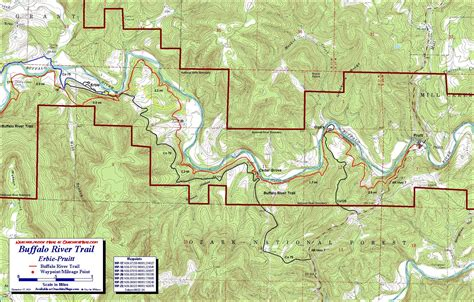 buffalo river map buffalo river trail western section free detailed topo map