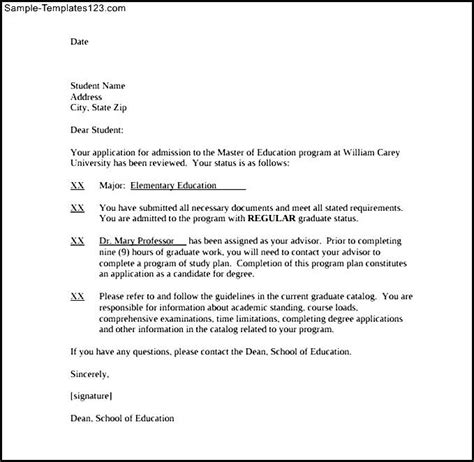 university acceptance letter sle template download