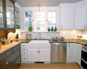 Farmhouse Kitchen Backsplash White Tile Backsplash Farmhouse Kitchens And Rustic Cabinets On