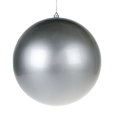 silver metallic finish shatterproof bauble single 400mm