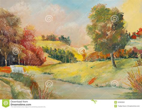 Landscape Artists Work Paintings Stock Photography Image 32682892