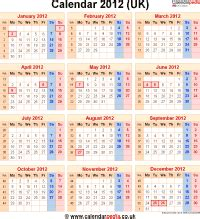 calendar  uk  bank holidays  week numbers