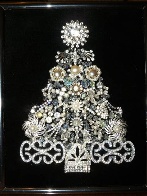 vintage jewelry christmas tree rhinestones galore