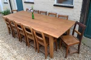 Kitchen Table Seats 10 Made Reclaimed Georgian Pine 9ft Farmhouse Kitchen Dining Table