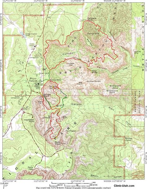 bryce hiking map fairyland loop hike bryce national park
