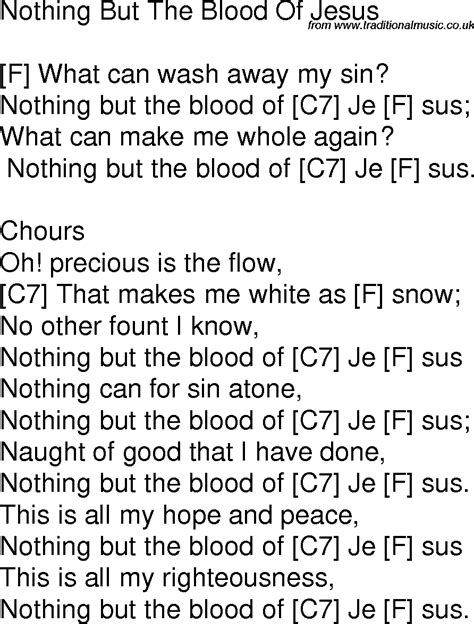 The Blood That Jesus Shed For Me Chords by Nothing But The Blood Of Jesus Song Chords Image Mag