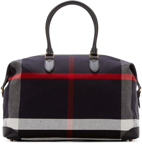 Travel Bag Burberry burberry navy canvas kingswood travel bag in blue for navy lyst