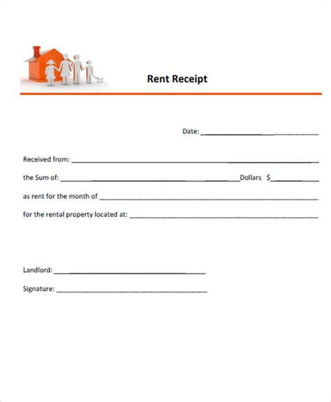 email rent receipt template 9 simple receipt template free sle exle format