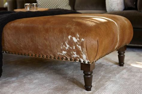 Faux Cowhide Ottoman Cowhide Ottoman Custom Transitional Footstools And