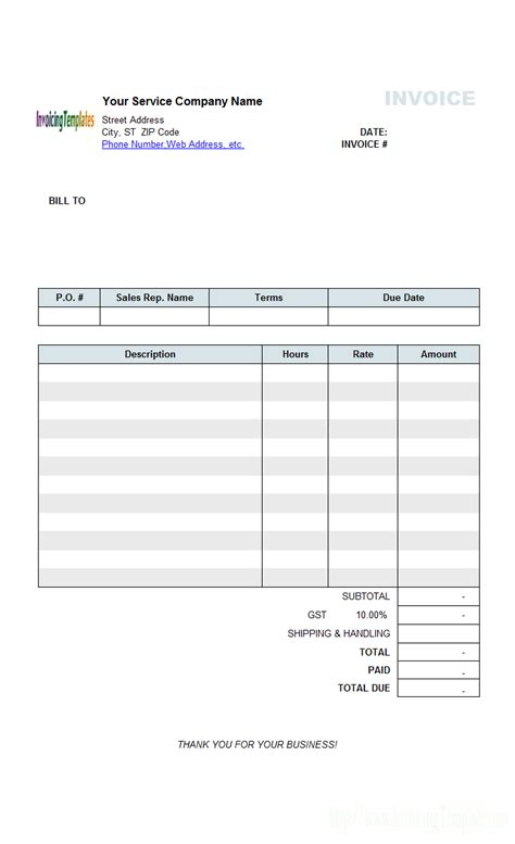 free excel tax invoice template australia with electric