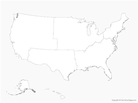 us map vector outline ai vector map of united states of america with regions