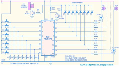 circuit design competition questions quiz buzzer circuit using ic 74ls373 gadgetronicx