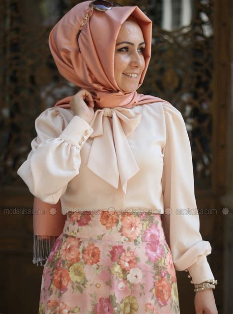 Blouse Muslim Mocca Atika Tunik bow tie detailed blouse somon pınar şems1 dresses sketch modest