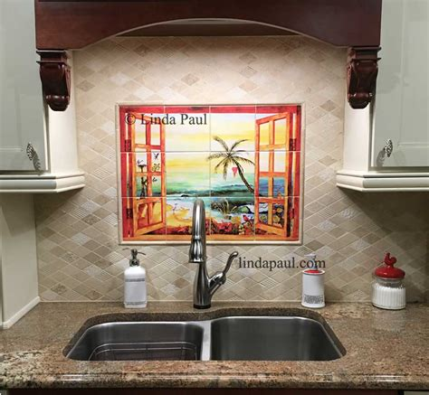 kitchen murals backsplash florida tile mural backsplash tiles palm tree tiles