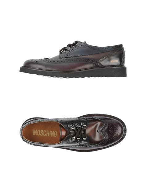 moschino mens sneakers moschino laceup shoes in brown for brown lyst