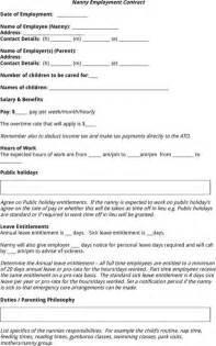 nanny contract template nanny contract template for excel pdf and word