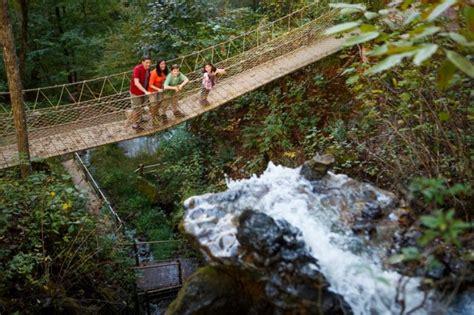 foxfire mountain swinging bridge stomach dropping tennessee swinging bridge