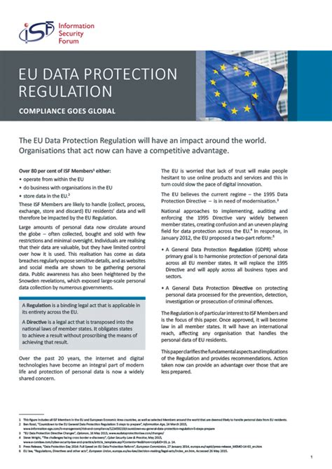 Info Briefformat Eu Data Protection Regulation Isf Briefing Paper Information Security Forum