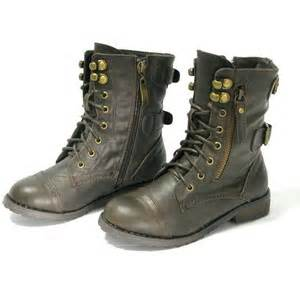 Kids girls boys junior flat lace up army biker ankle black ladies